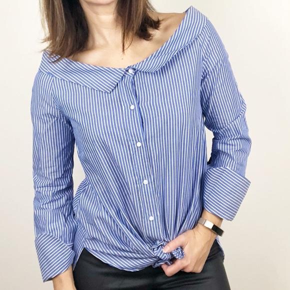 e05d9e9f9aa Zara off shoulder button down shirt, C29. M_5ba506d3819e904d7f1d2f2a